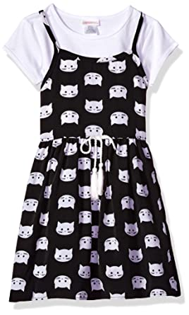 b38a6dd1e Amazon.com: Youngland Girls' Little 2 Pc Set, Cat Face Printed Jumper Dress  with T-Shirt: Clothing