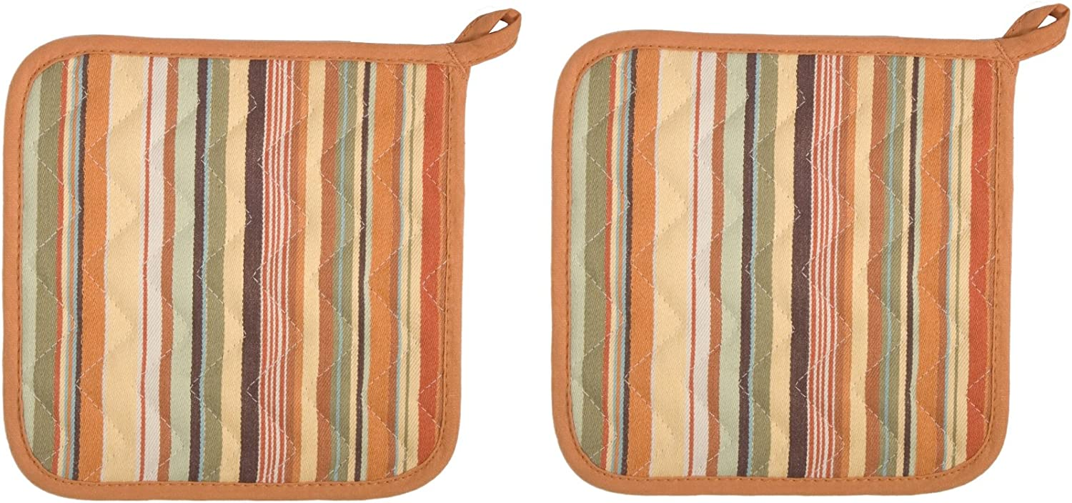 Now Designs Basic Potholders, Essex Stripe Jaffa, Set of 2: Home & Kitchen