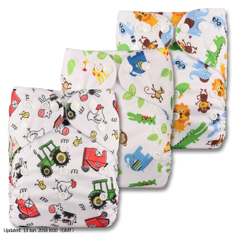 Set de 3 POPPER Cierre LittleBloom Beb/é Pa/ñales Lavables Pa/ñal Reutilizable Insertos