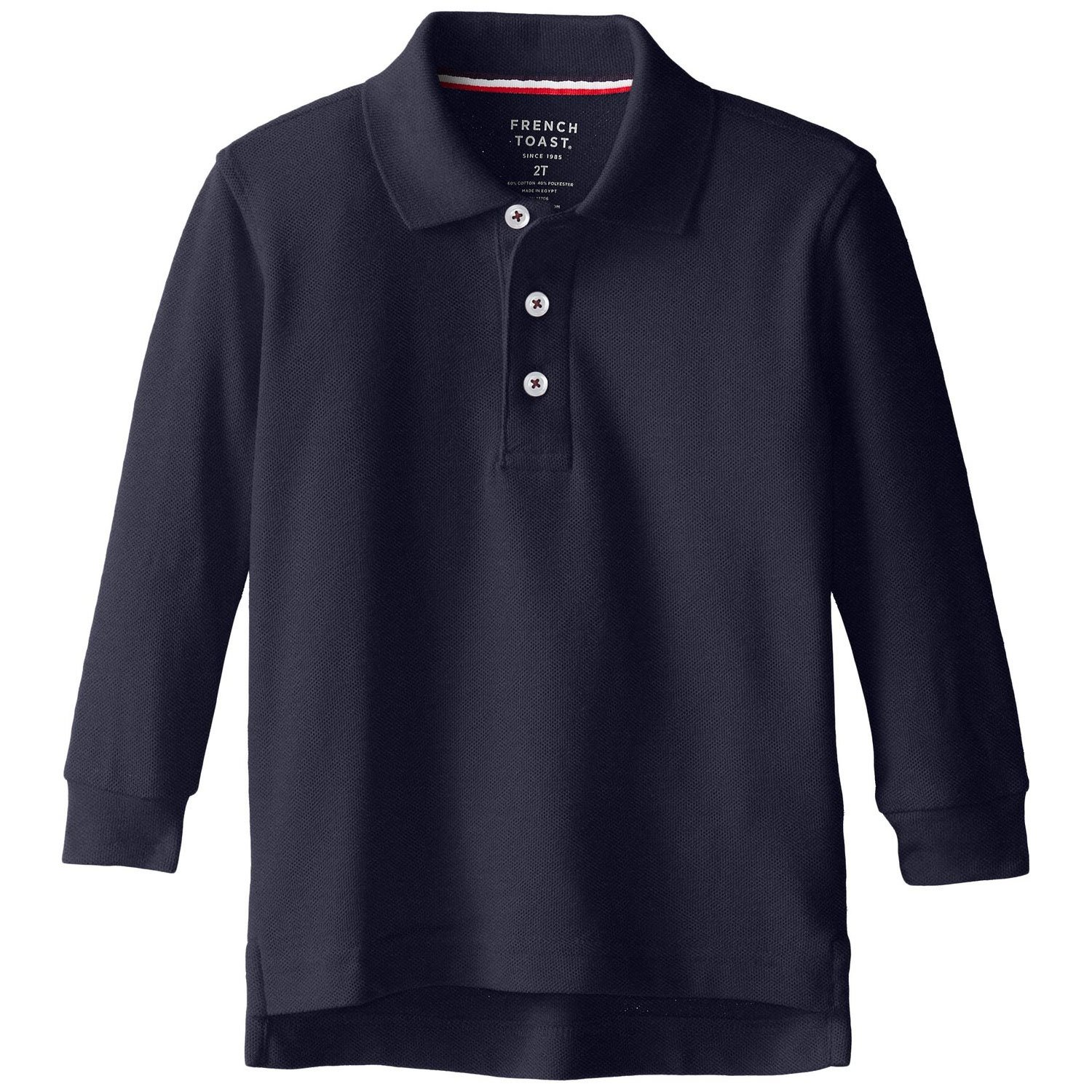 French Toast School Uniform Boys Long Sleeve Pique Polo Shirt, Navy, X-Small (4/5)