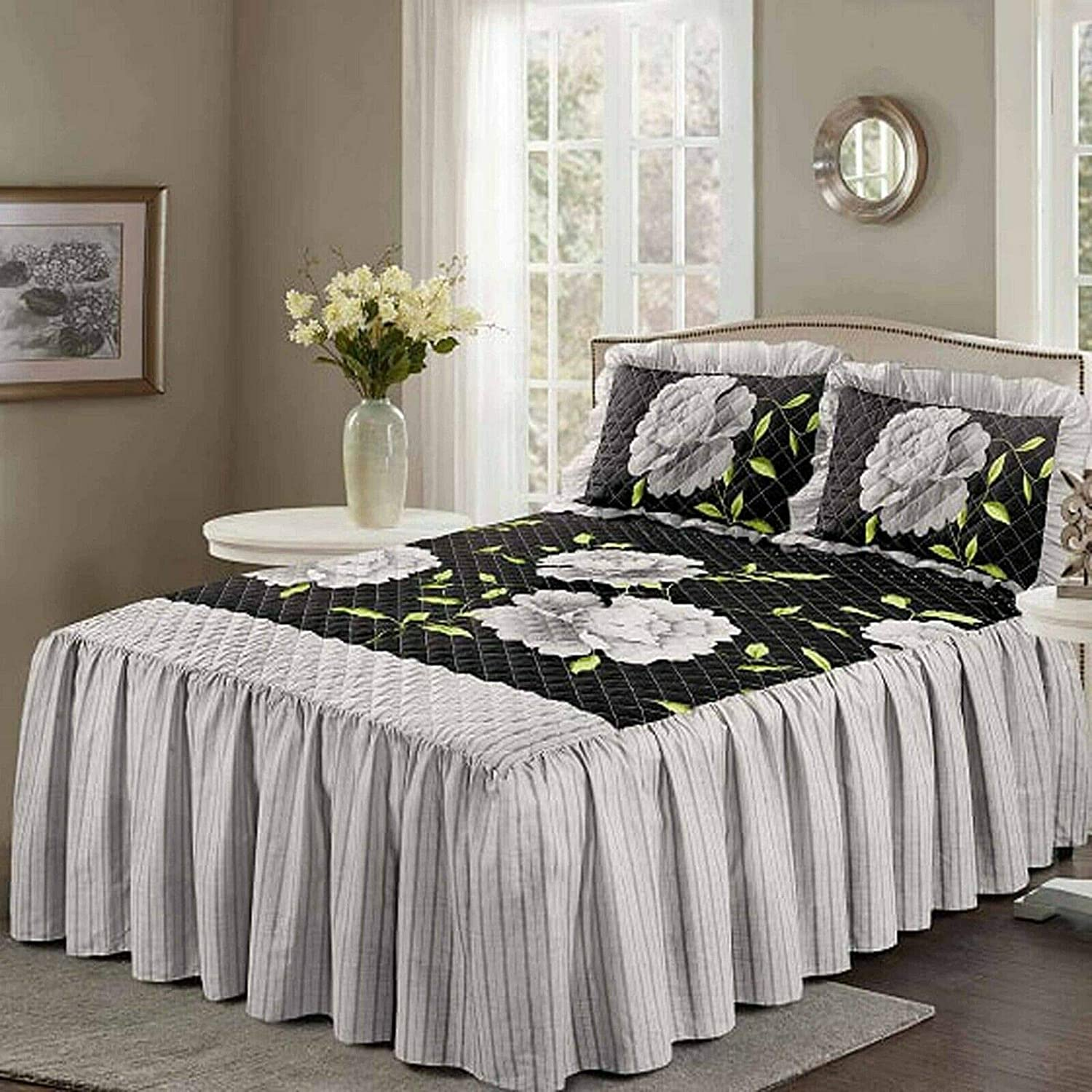 Camilla Black, Double QM Quest-Mart/® Luxuries Quilted Bed Spreads with 23 Deep Frill Floral /& Stripes Designs NZ