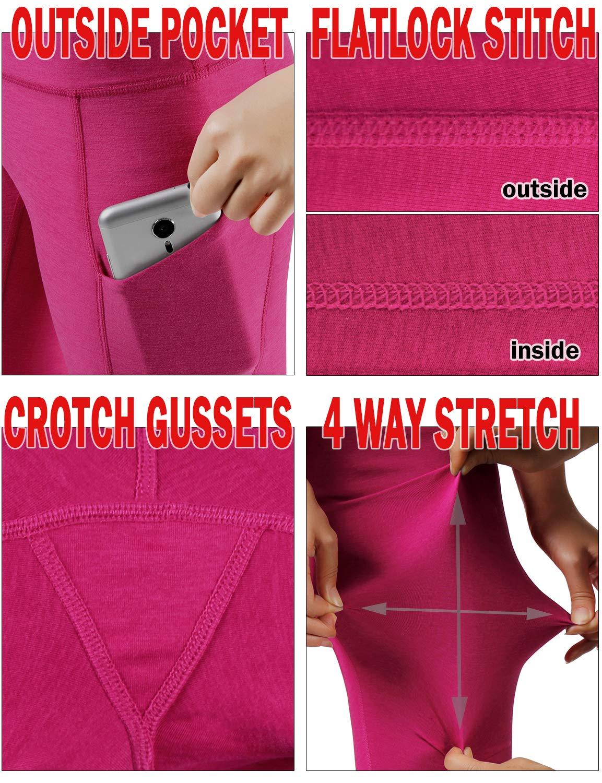 ODODOS High Waist Out Pocket Yoga Capris Pants Tummy Control Workout Running 4 Way Stretch Yoga Leggings,Fuchsia,X-Small by ODODOS (Image #6)