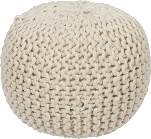 Surya Decorative Pouf, 18 by 18 by 12-Inch, White