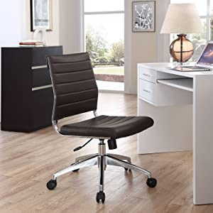 Modway Jive Ribbed Armless Mid Back Swivel Conference Chair In Brown