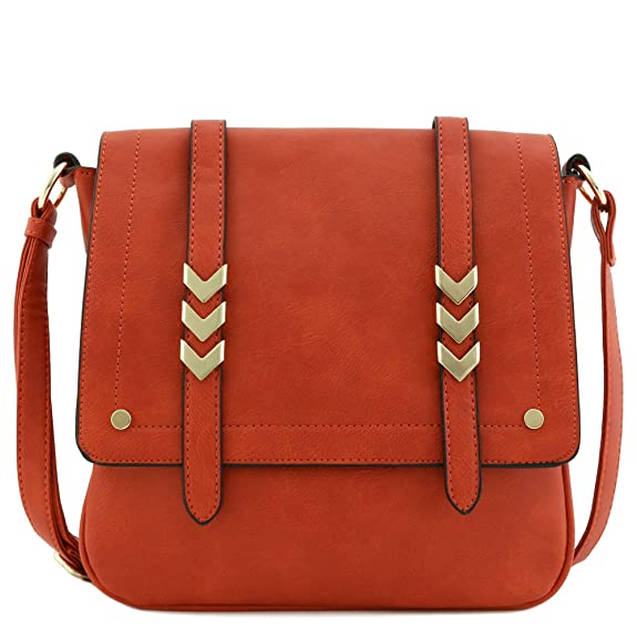 Double Compartment Large Flapover Crossbody Bag (Rust)