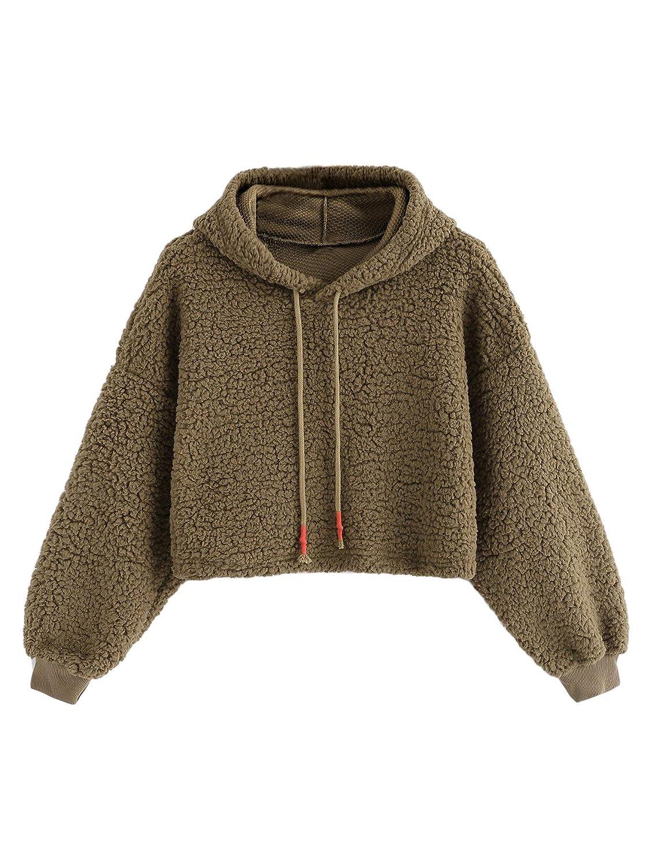 Romwe Womens Casual Long Sleeve Fleece Pullover Crop Hooded Teddy Sweatshirt