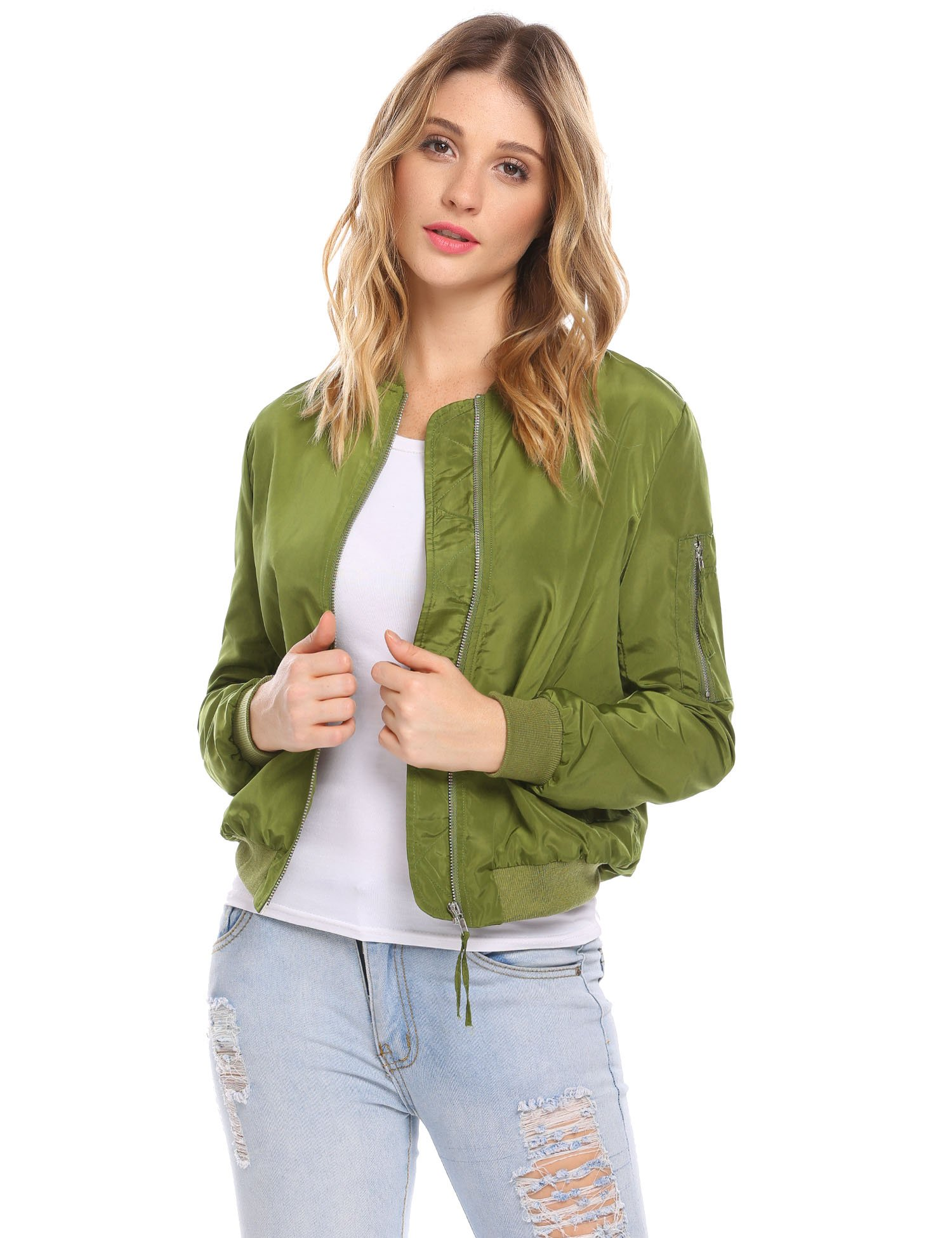 Zeagoo Womens Lightweight Biker Bomber Jacket Classic Quilted Short Outdoor Coat Dark Green L by Zeagoo
