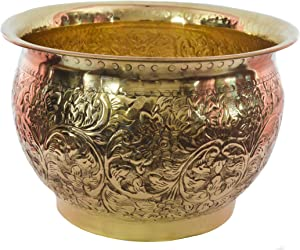 TANGERINE Carving Brass Planter || Plant Container|| Flower Pot for Indoor/Outdoor Plant & Home Decor- Size Diameter-16 x Height- 11 inches