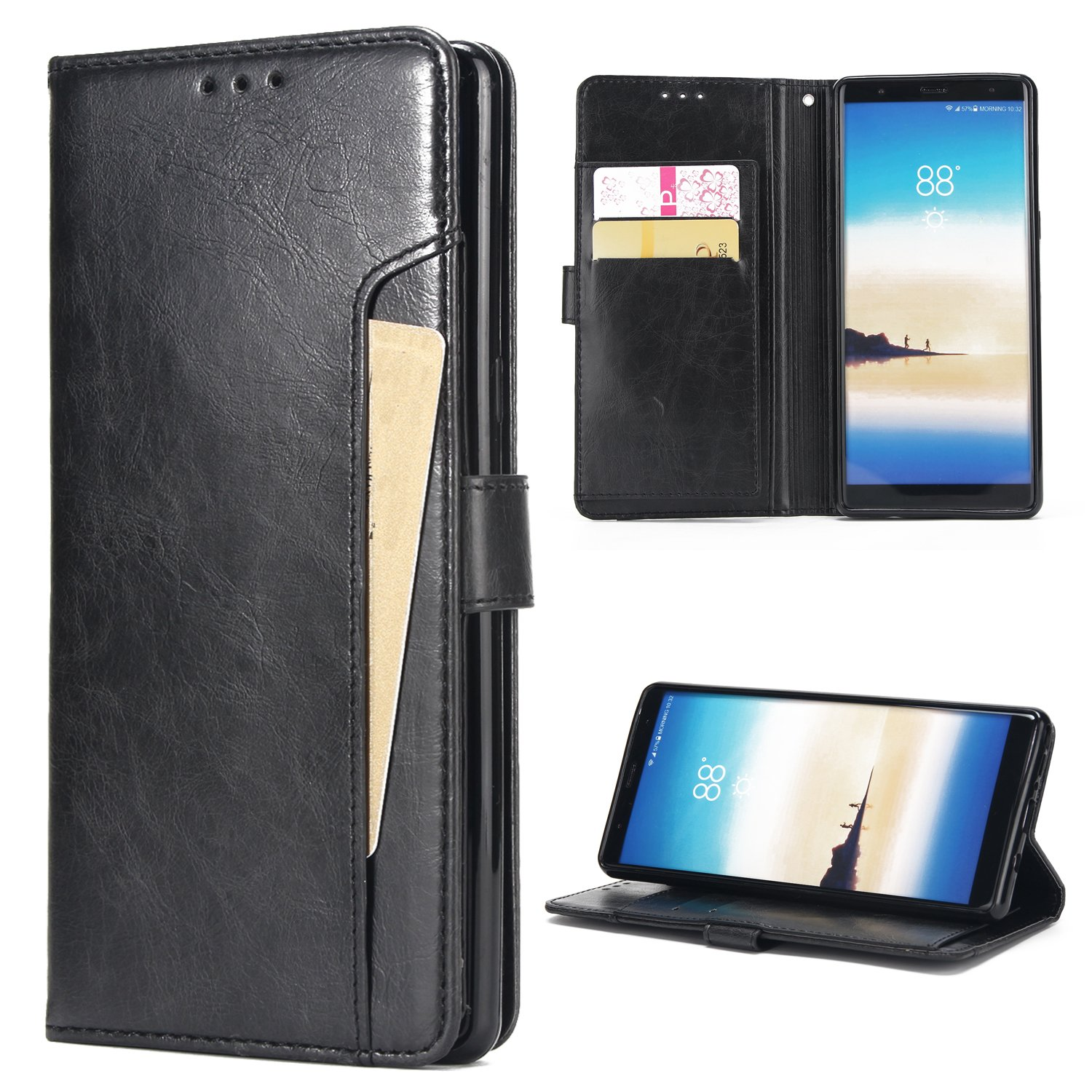 Samsung Note 9 Case,Galaxy Note 9 Wallet Case,FLYEE Ultra Thin Slim Folio Cover PU Leather Magnetic Protective Cover with Credit Card Slots, Cash Pocket,Stand Holder for Samsung Galaxy Note 9 Black