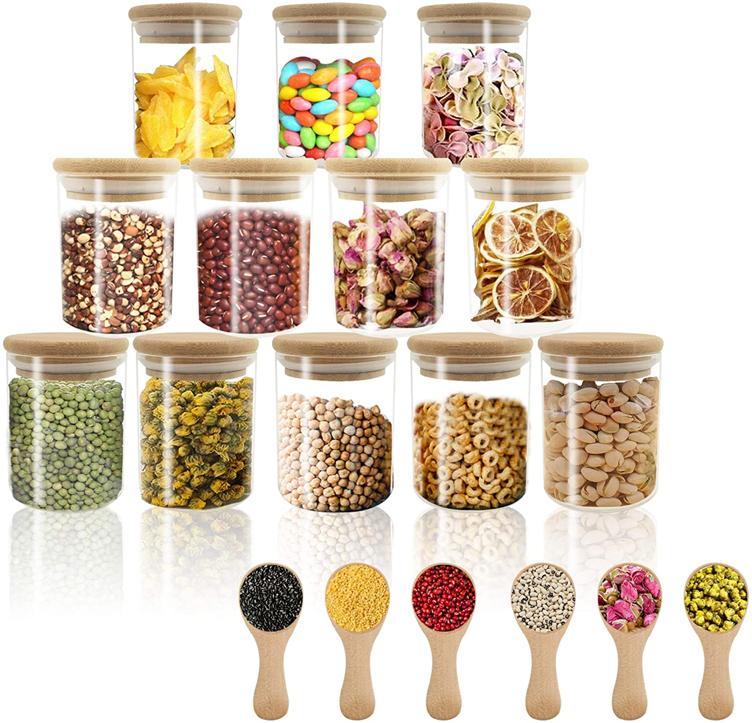 18pcs Glass jars Set, VIKEYHOME 12set 6oz Spice Jar Set with Bamboo Lids ,6pcs bonus Small Condiments wooden spoons , Small Airtight Glass Canister, Food Cereal Storage Containers for Home Kitchen Tea Herbs Pasta Coffee Flour Herbs Grains