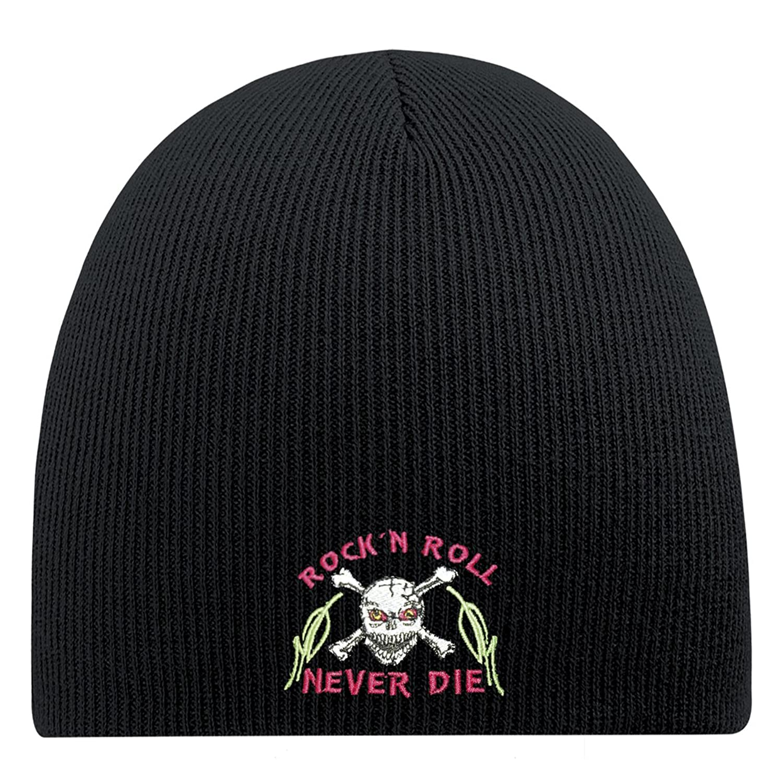 Fan-O-Menal Strickmütze Wollmütze Wintermütze Skimütze Beanie mit hochwertiger Einstickung - Rock n Roll never Die - 54868 schwarz