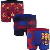 FC Barcelona - Pack de 3 calzoncillos oficiales de estilo bóxer - Para niños - Con el escudo del club