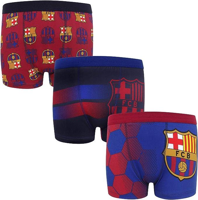 FC Barcelona - Pack de 3 calzoncillos oficiales de estilo bóxer - Para niños - Con el escudo del club: Amazon.es: Ropa y accesorios