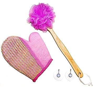 Best Pink 4 Piece Bath Shower Back Scrubber Loofah Luffa Mesh Pouf Sisal  Glove Sponge With