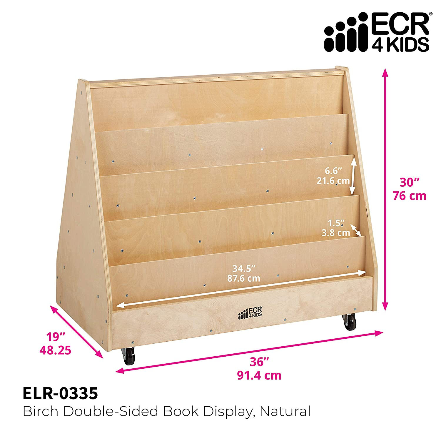 Amazon Com Ecr4kids Elr 0335 Birch Double Sided Book Display Stand Wood Book Shelf Organizer For Kids 10 Shelves Natural Industrial Scientific