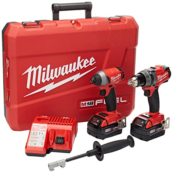 Milwaukee 2796 22 M18 Fuel One Key 18 Volt Lithium Ion Brushless Cordless Hammer Drill/Impact Driver Combo Kit by Milwaukee