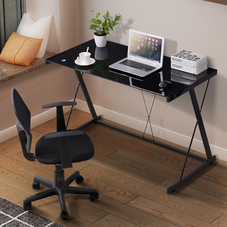 Amazon com mecor glass computer desk z shaped metal frame corner laptop pc table workstation home office black kitchen dining