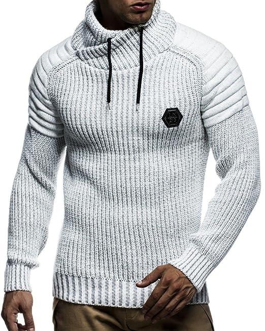 LEIF NELSON Hombres con Capucha suéter de Punto Sudadera de Manga ...