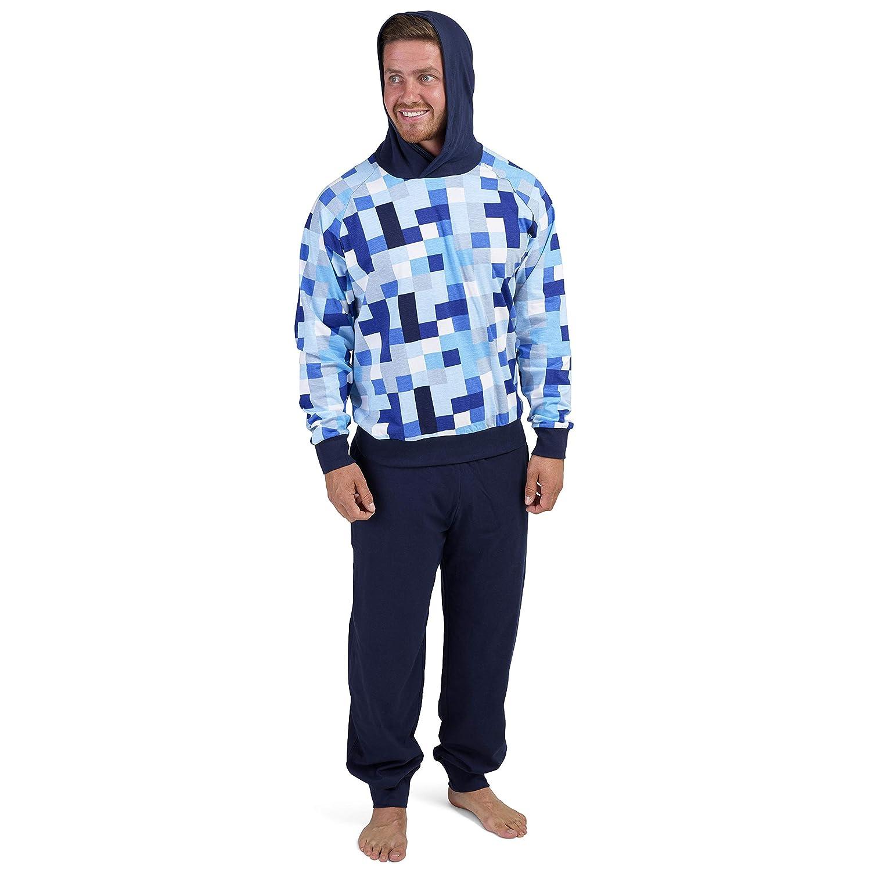 Pijama Hombre Invierno Sudadera Gimnasio 100% Algodón Mangas Largas Set Suave Cómodo Ropa de Dormir: Amazon.es: Ropa y accesorios