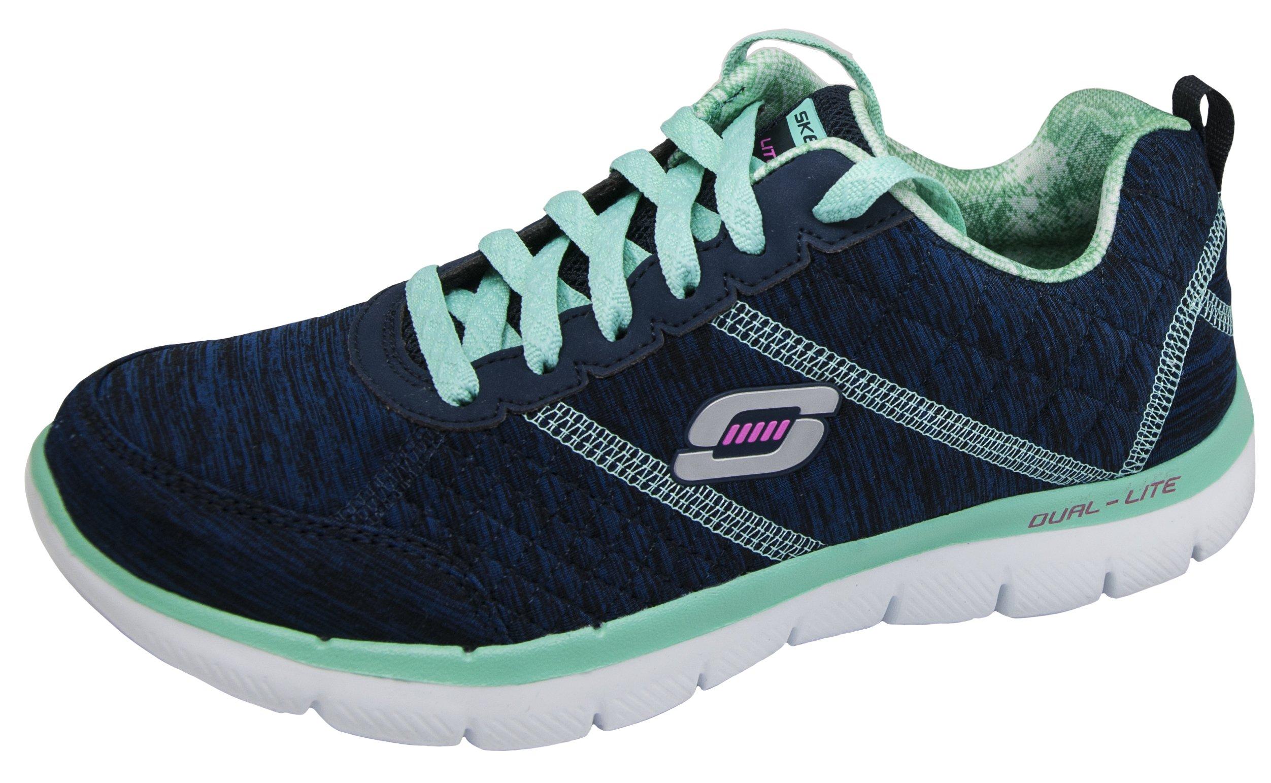 Skechers Sport Women's Flex Appeal 2.0 Fashion Sneaker (9 B(M) US, Navy/Aqua)