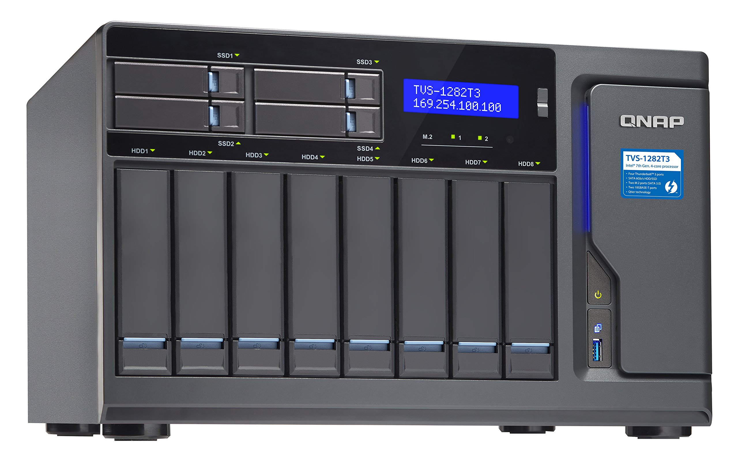 Qnap TVS-1282T3-i7-64G-US Ultra-High Speed 12 bay (8+4) Thunderbolt 3 NAS/iSCSI IP-SAN, Intel 7th Gen Kaby Lake Core i7 3.6GHz Quad Core, 64GB RAM, Thunderbolt3 port x 4 and 10Gbase-T x 2 by QNAP (Image #5)