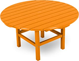 product image for POLYWOOD Round 38-Inch Conversation Table, Tangerine