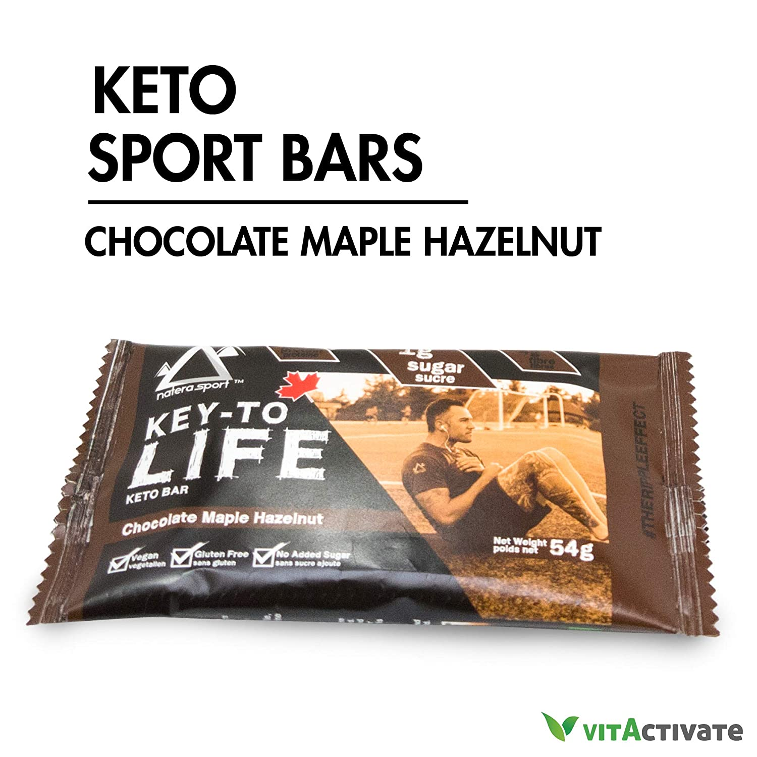 Keto Snack 12 Pieces Chocolate Maple Protein Bars, NATERA Ketogenic Food Supplement Energy Bar, Low Carbs, Low Sugar Pre-Workout Cookies