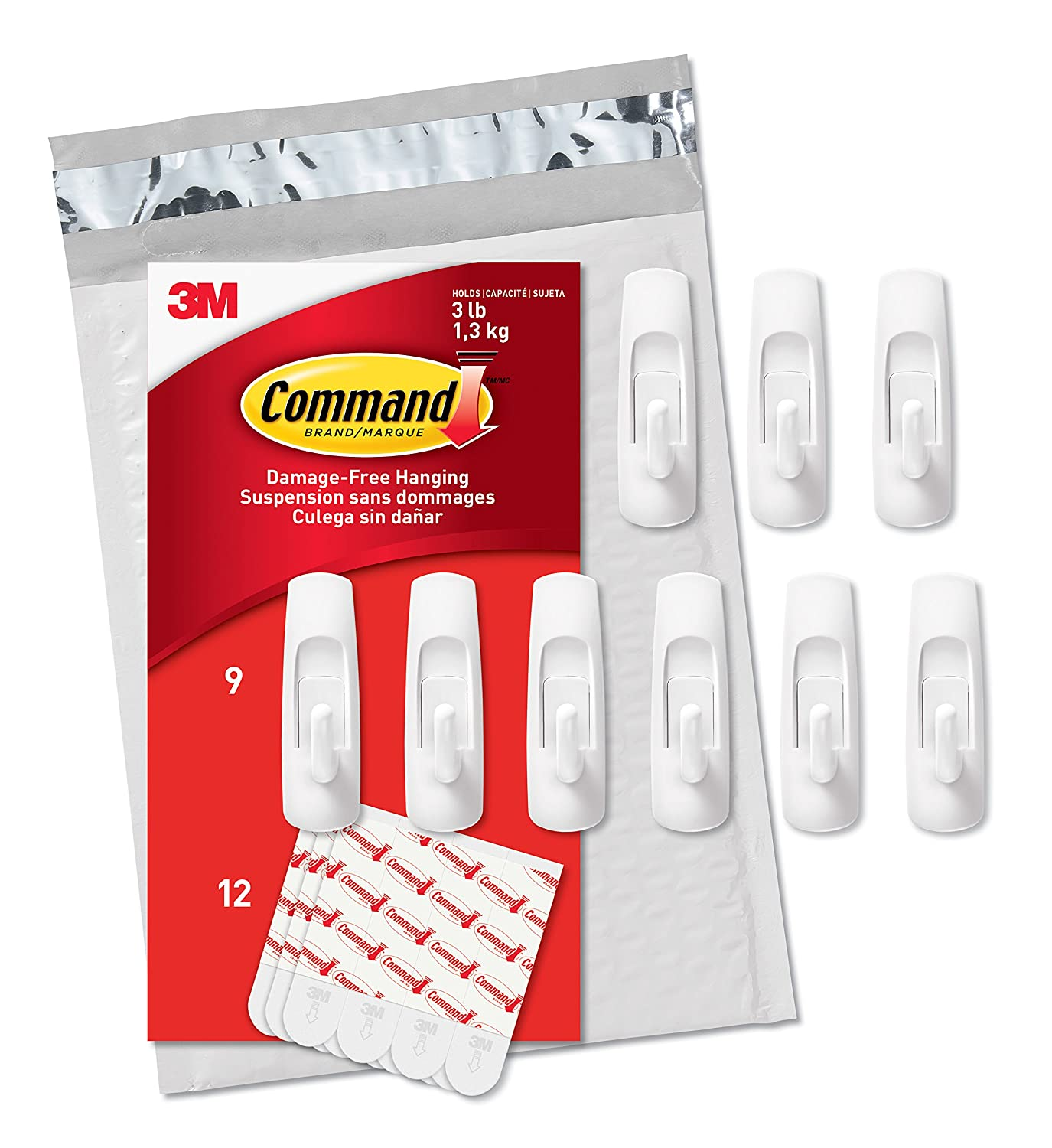 Command 3M Medium Multi Function Hooks White No Tools or Holes Strong and Versatile 9 Hooks 12 Strips