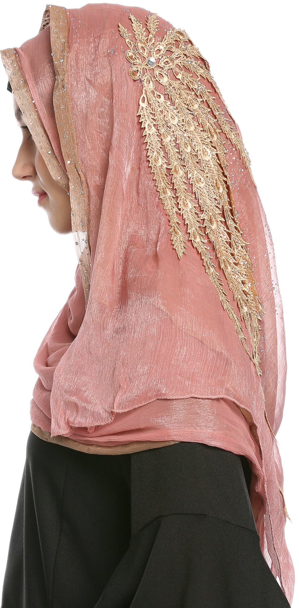 Ababalaya Lace Decorated Wedding Hijab Islamic Hijab,Color3 by Ababalaya (Image #2)