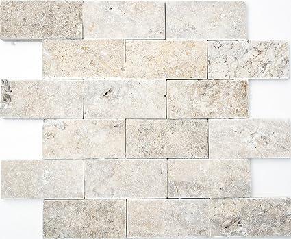 Rete mosaico mosaico piastrelle Brick splitface Silver ...