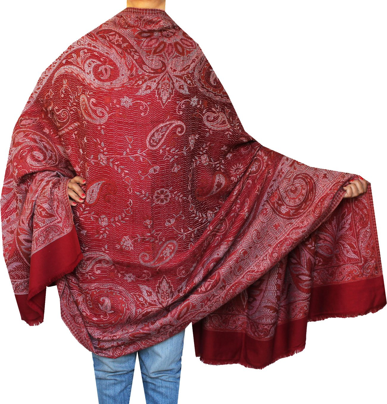 Paisley Scarves Wraps Womens Wool Shawl India Clothes (82 x 42 inches) Maple Clothing shwlj2221610a