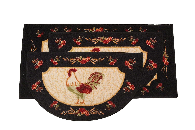 Kashi Home Rooster 3pc Kitchen Rug Set, (2) Slice 18\