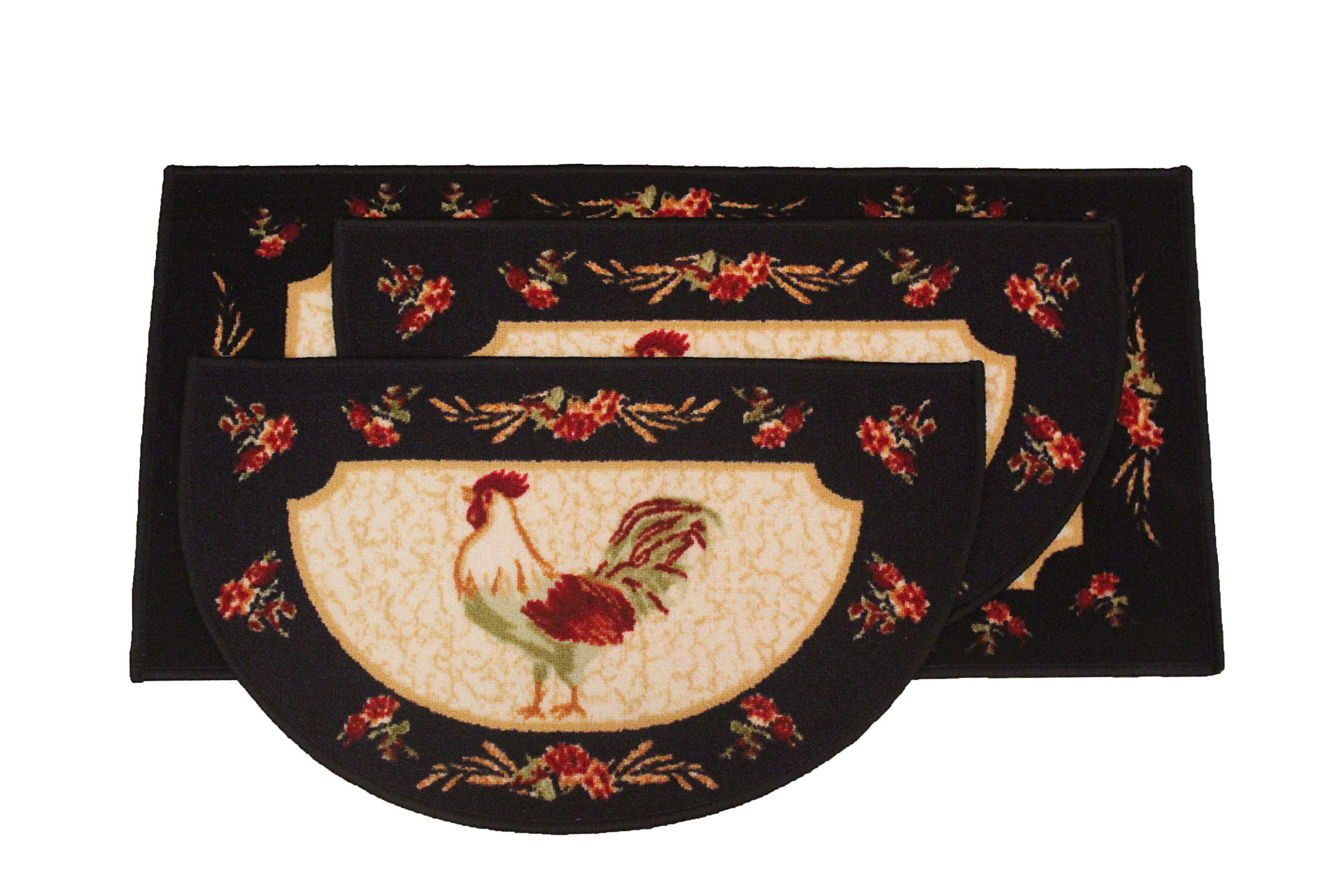 Kashi Home Rooster 3pc Kitchen Rug Set, (2) Slice 18''x30'' Rugs, (1) 20''x40'' Mat, Non-Slid Latex Back
