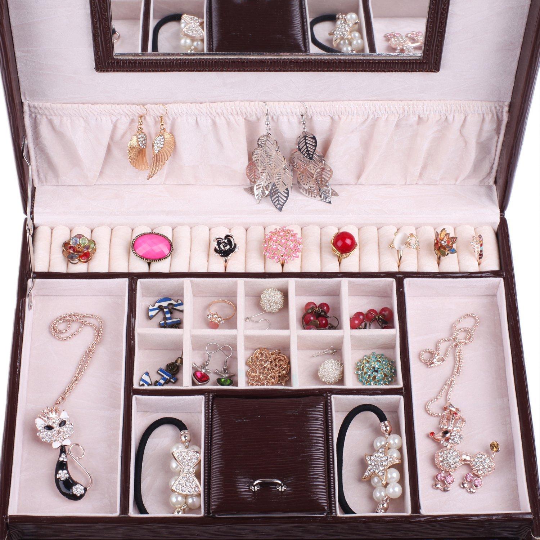 Rowling Large Jewellery Box Watch Bracelets Rings Earring Cufflinks Women Handbag (BROWN) by Rowling (Image #5)