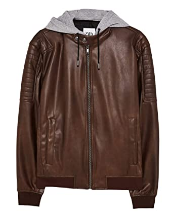 3cb0568d Zara Men Faux Leather Jacket with Contrast Hood 3548/451 (Small) Brown