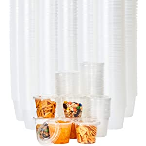 Leakproof, BPA Free 5.5oz Souffle Cups and Lids 500ct. Stackable Portion Containers for Sampling, Salad Dressing, Sauces or Jello Shots. Plastic Food Prep Supplies for Restaurant, Catering or Deli