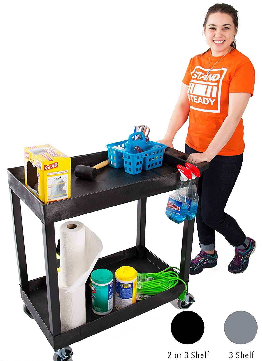 Original Tubstr 2 Shelf Utility Cart/Service Cart - Heavy Duty - Supports up to 400 lbs - Tub Carts w/Deep Shelves - Great for Warehouse, Garage, Cleaning andMore! (3 Shelf - 32x18 / Black)