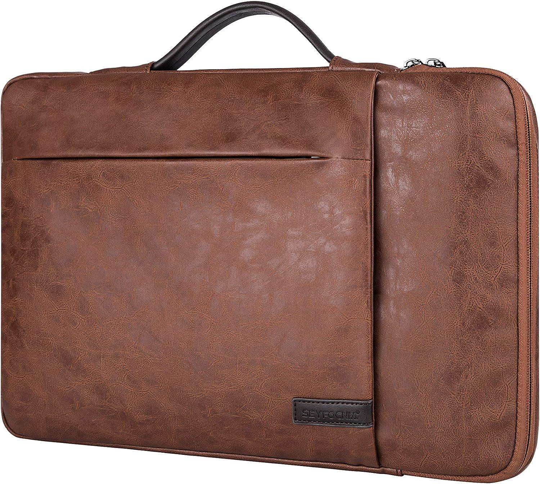"""15.6 Inch Laptop Sleeve Case Computer Bag,360° Protective Leather Waterproof Laptop Shoulder Bag,Handbag for Most Popular 14""""-15.6"""" Notebooks -Brown"""