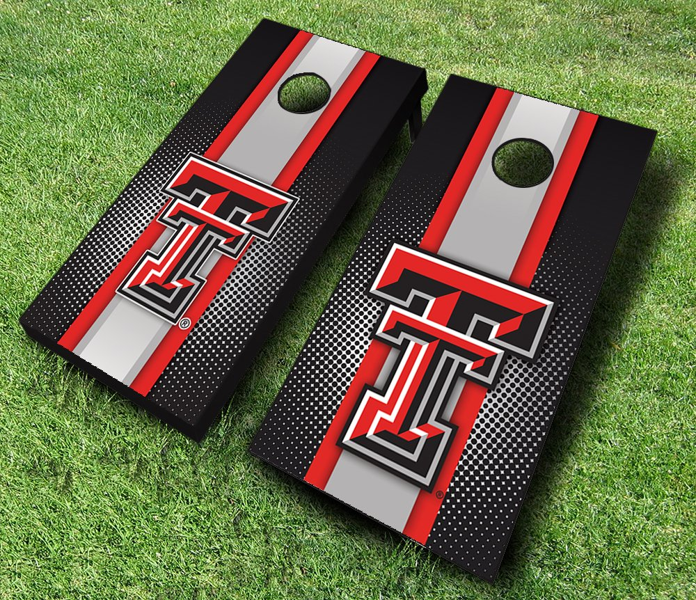 TEXAS TECH RED RAIDERS ''Striped'' Themed CORNHOLE WRAPS BOARD SET Bean Bag Toss + 8 ACA Regulation Bags ~ MADE in the USA