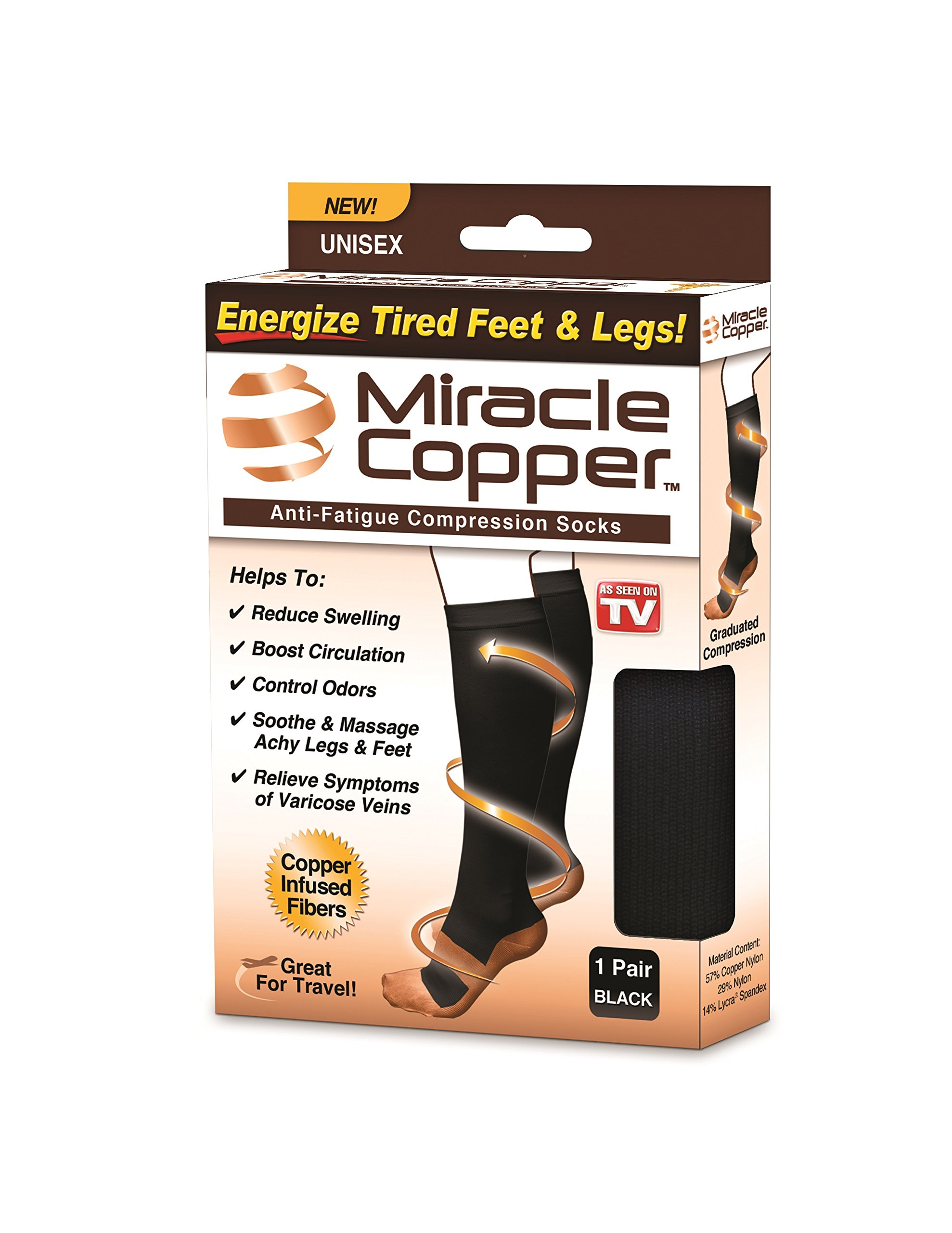 Miracle Copper MCSLXL Anti-Fatigue Compression Socks (Large/Extra Large)