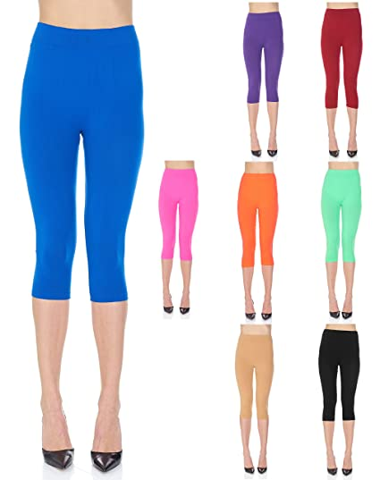 5936fedd6e09cd Sweet Rose NYC 4 Pack Women's Seamless Capri Leggings Yoga Pants One Size  Assorted Colors (