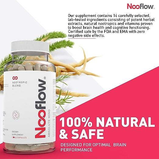 Vitaminas para el Cerebro Nooflow Absolute Mind Premium | Para Concentración, Memoria, Aprendizaje, Ánimo, Energía y Salud | 100% Natural Mezcla Nootrópica ...