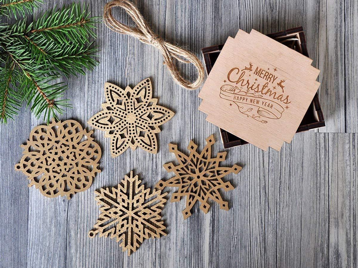 Amazon Wooden Snowflake Ornaments Silver Gold Christmas