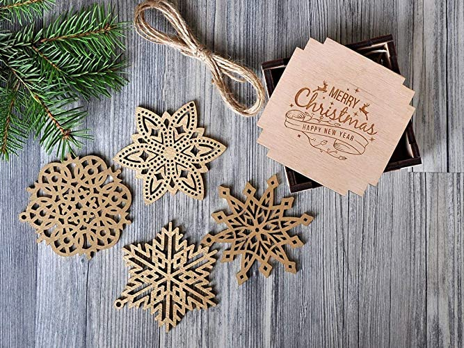 Amazon Com Wooden Snowflake Ornaments Silver Gold Christmas