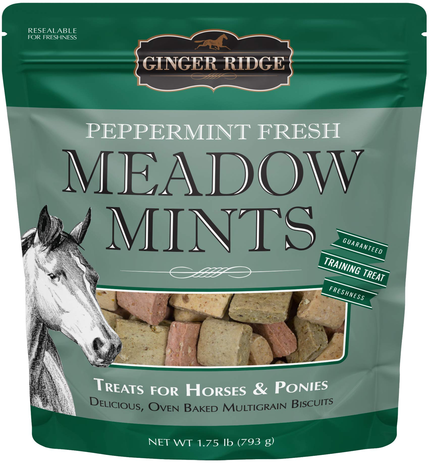 Ginger Ridge Meadow Mints Horse Treats, Peppermint Fresh, 1.75 Lb by Ginger Ridge