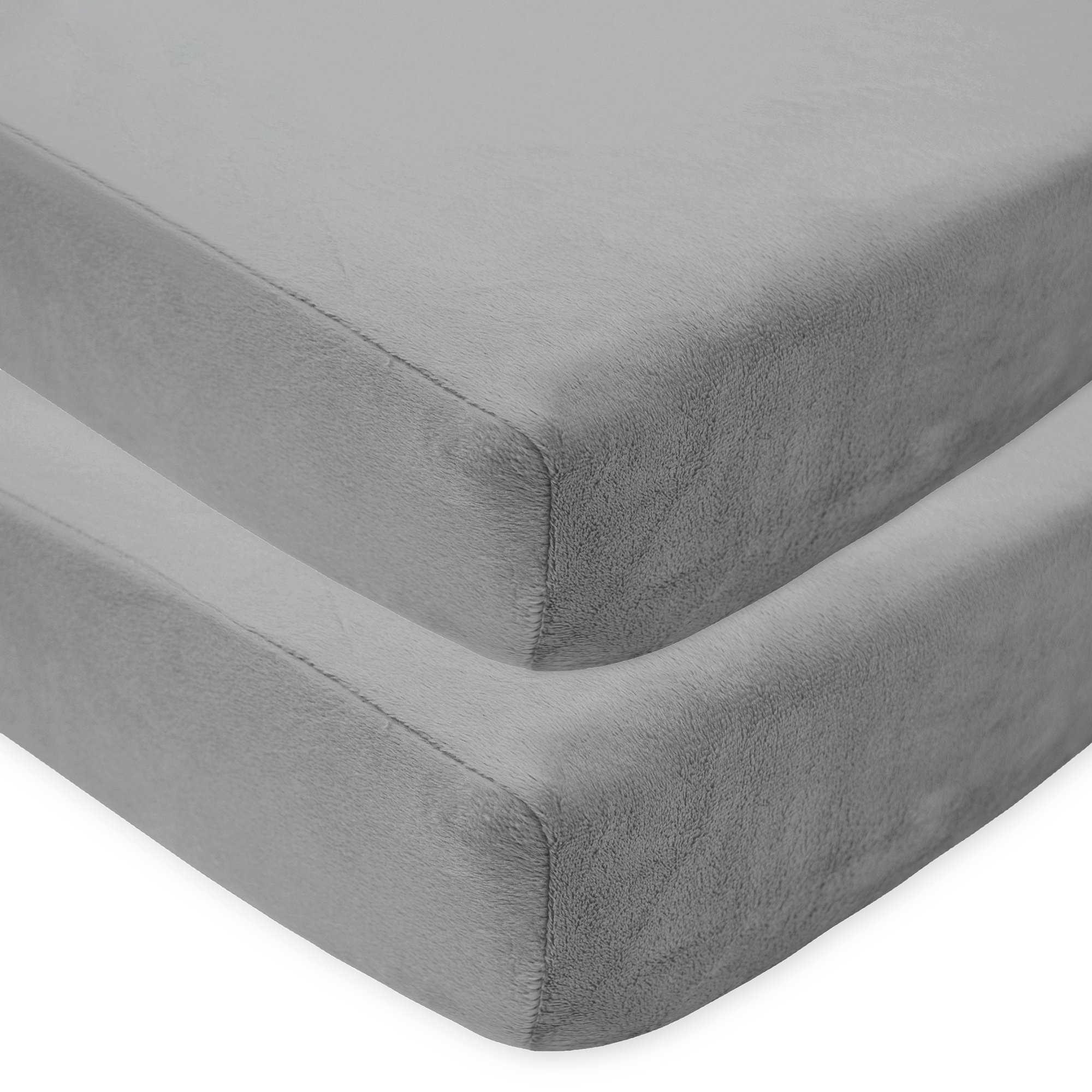 American Baby Company 2 Pack Heavenly Soft Chenille Fitted Crib Sheet for Standard Crib and Toddler Mattresses, Grey, 28'' x 52'', for Boys and Girls by American Baby Company