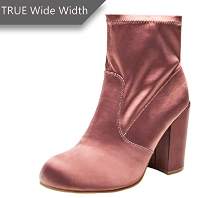 b74a57d57e3 Women s Wide Width Ankle Boots - Chunky Block Mid Heel Round Toe Slip on Side  Zipper
