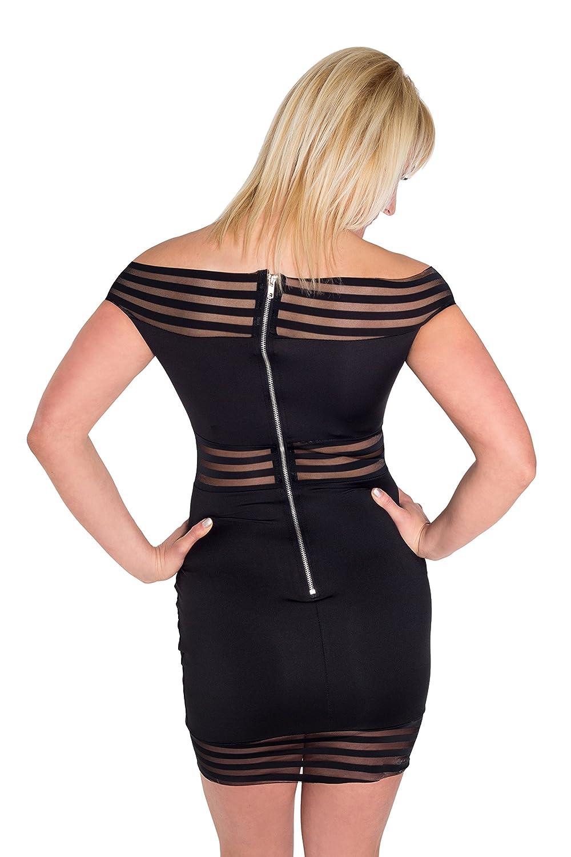 HO-Ersoka Damen Minikleid off-shoulder Party-Dress Frauen schulterfrei kurz  Carmen-Style Streifen schwarz: Amazon.de: Bekleidung