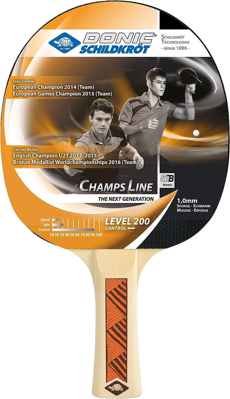 Donic-Schildkröt Raqueta de Tenis de Mesa Champs Line 200, Espinillas en el Exterior, Esponja de 1,0 mm, 705122