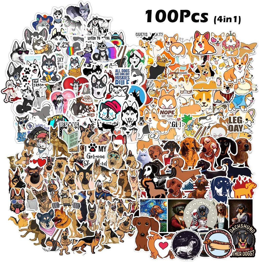 Kilmila Cute Dog Pets Stickers [100pcs], Dog Stickers Random Dachshund /German Shepherd /Husky /Corgi Sticker for Kids Toddlers Children Teen Laptop Skins Vinyl Decals for Water Bottles Bike